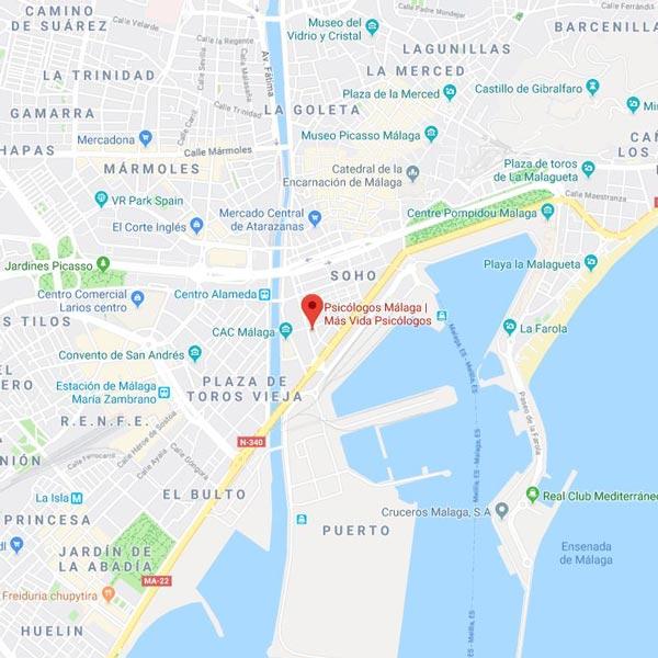 Mapa Más Vida Psicólogos Málaga